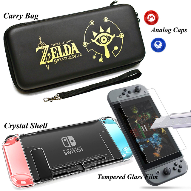 Nintend Switch Accessories Carry Bag + Tempered Glass Film + PC Shell Case+ Joy-con Analog Caps for Nitendo Switch Game Console 2
