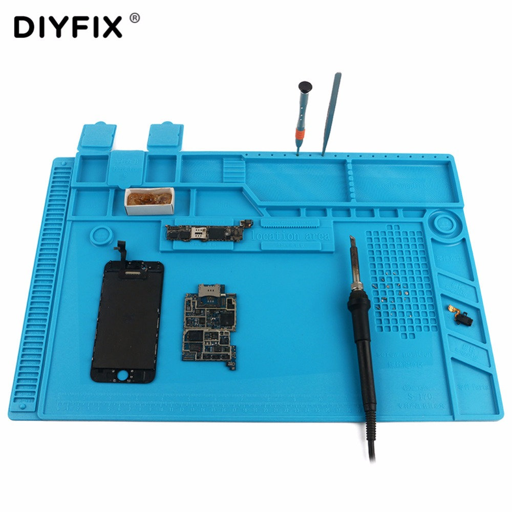 DIYFIX S-170 480x318mm Silicone Pad Desk Work Mat Heat Insulation Maintenance Platform for BGA PCB Soldering Repair Tool 28x20cmhigh quality bga heat insulation silicone soldering pad repair maintenance platform desk mat