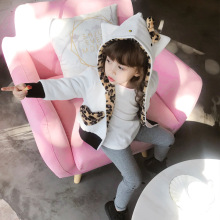 ANKRT 18  winter new KT cat leopard print cotton jacket girls wear cap on both sides.12M-6T