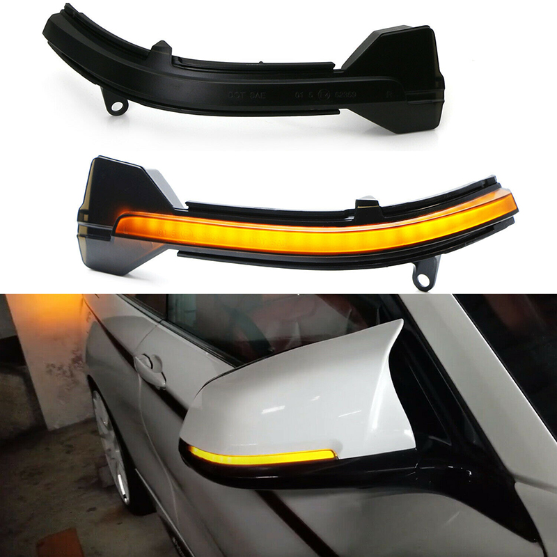 Smoked Side Wing Mirror Dynamic Turn Signal Light for BMW F10 F11 F12 X1 F21 F31