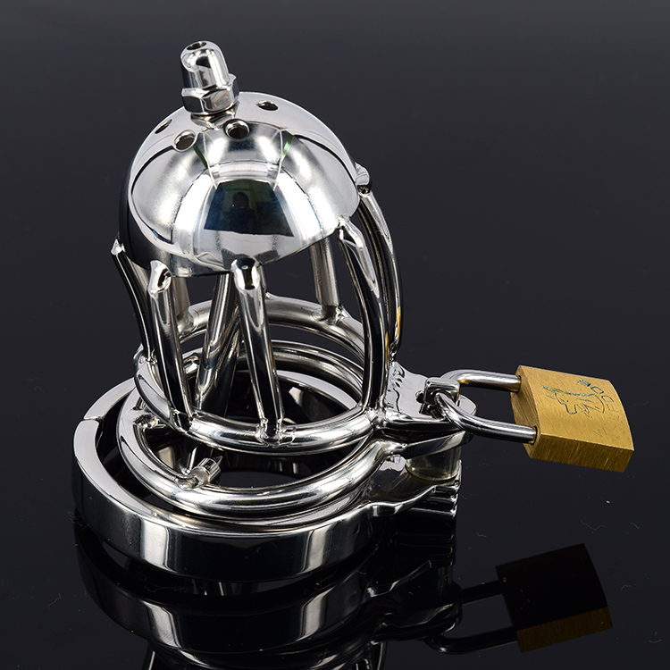 цены Male Chastity Belt With Spikes Anti-shedding Penis Ring/Urethral Sound, Stainless Steel Cock Cage Device, Penis Plug Sex Toys