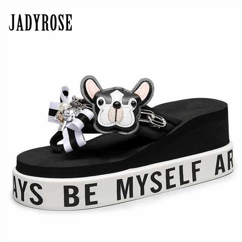 Jady Rose Cute Handmade Women Slippers Flips Flops Summer Beach Shoes Outside Flat Slides Ladies Wedge