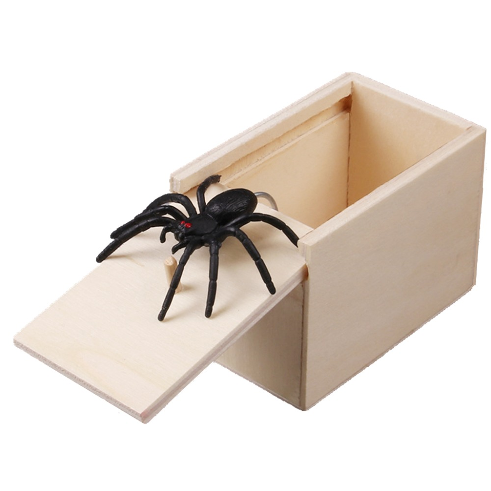 Novelty Hilarious Scary Box Spider Prank Wooden Scarybox Joke Gag Toy No Word Wiggly Rubber Spider