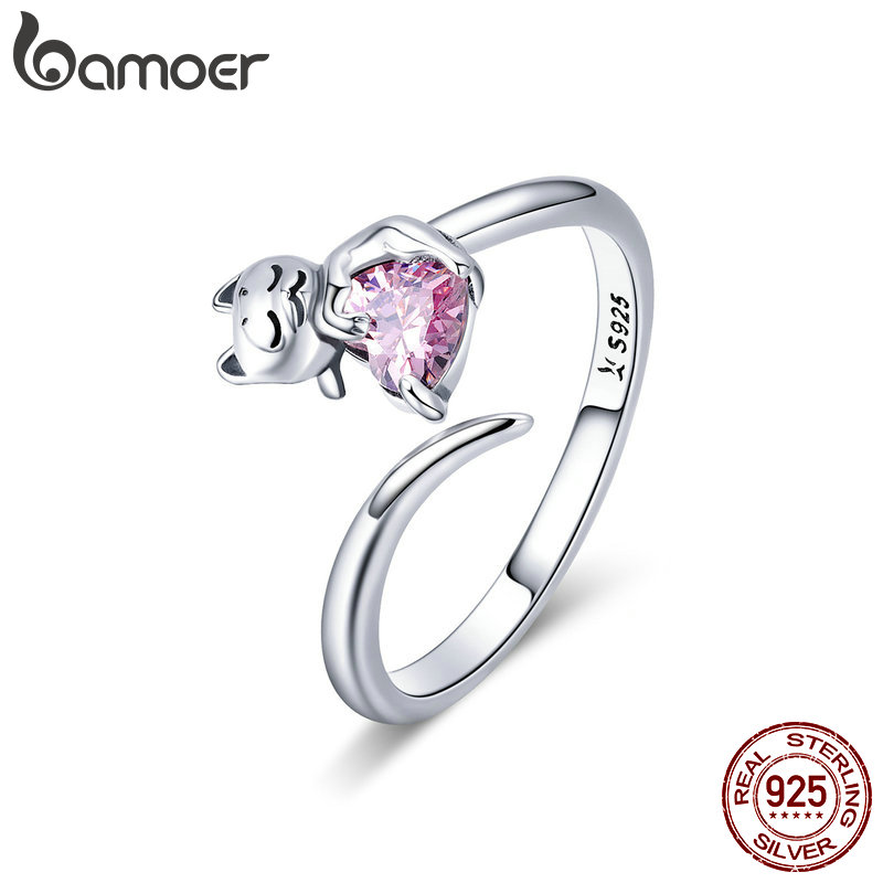 BAMOER Authentic 925 Sterling Silver Adorable Cat Pink CZ Adjustable Finger Rings for Women Sterling Silver Ring Jewelry SCR446 mariposa en plata anillo