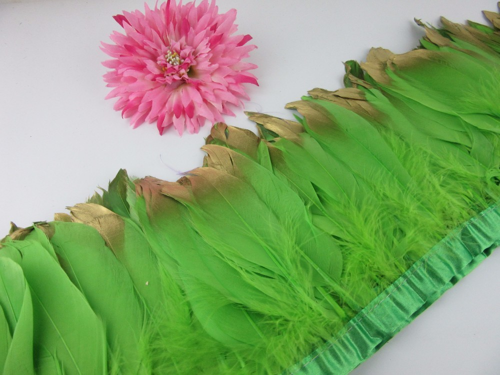 Fashion Gold Tips Goose feather trims 2-10yards green Dyed geese feather ribbons /15-20cm Duck feather fringes Free shipping