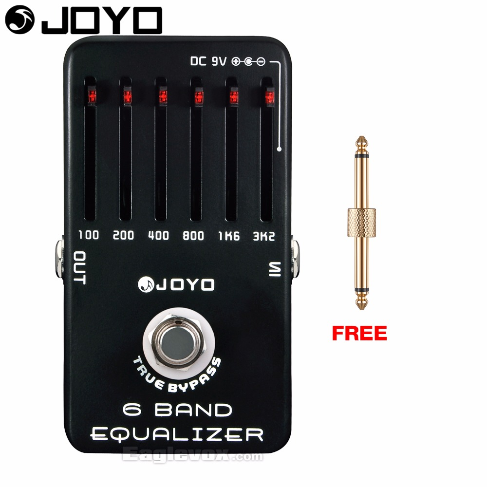 JOYO JF-11 6 Band Equalizer Electric Guitar Effect Pedal True Bypass with Free Connector aroma aeg 3 gt eqanalogue 5 band equalizer guitar effect pedal mini volume with true bypass volume control guitar parts