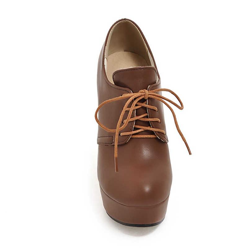 BONJOMARISA artı boyutu 31-44 yüksek topuk ayakkabı kadın pompaları siyah yuvarlak ayak platformu Lace Up düğün ayakkabı pompalar kadın