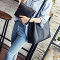 Free shipping new fashion Black Double women PU leather handbags ladies Bucket Shoulder Messenger Bag bolsas feminina 2016