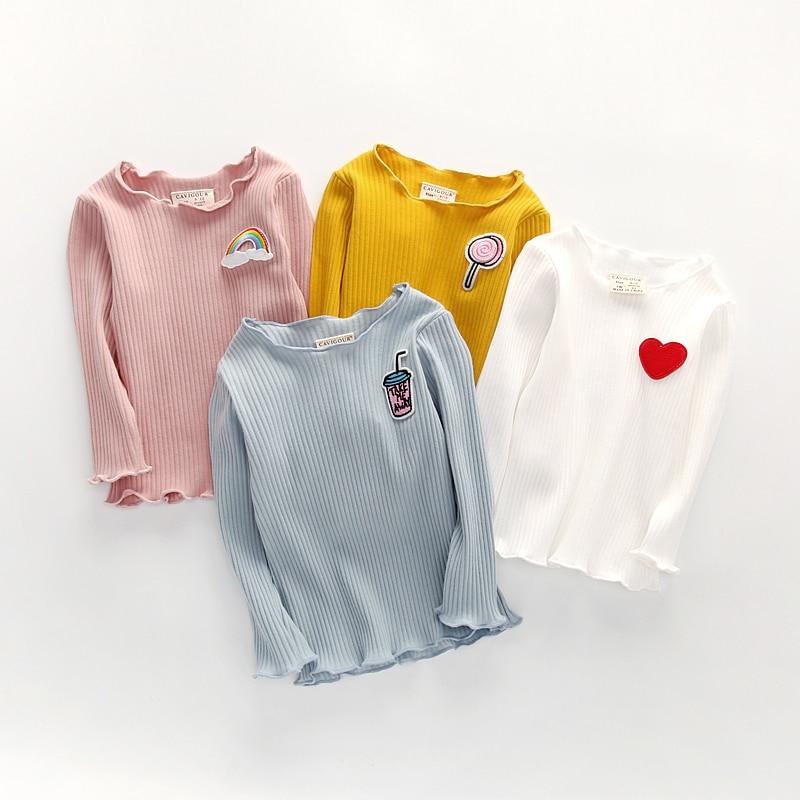 2018 Neue Baumwolle Kinder Mädchen Langarm T Shirts Süße Scalloped Design Tops Für 1-3 Jahre Mädchen Kleinkind Grundlegende Fittling Hemd