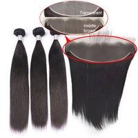 Волосы ткет с прозрачной кружевной фронтальной натуральный Цвет человека Волосы remy 3 Связки с пучки волос деллас любовь