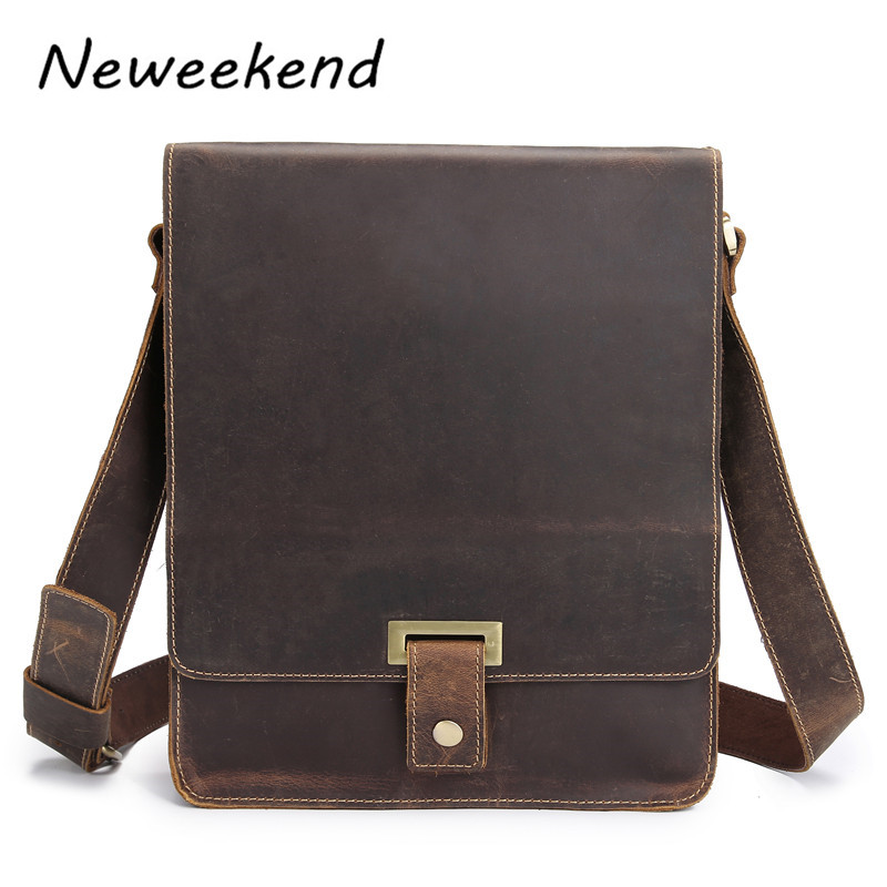 Vintage Men's Genuine Crazy Horse Leather Business Bag Crossbody Shoulder iPad Bags Briefcase Portfolio Handbags For Male 7055 neweekend 1005 vintage genuine leather crazy horse large 4 pockets camera crossbody briefcase handbag laptop ipad bag for man