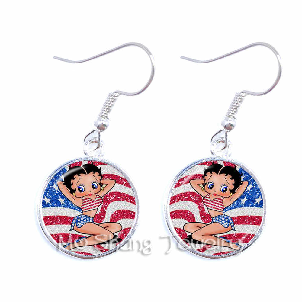 1pair Betty Boop 16mm Round Glass Cabochon Handmade Dangle Earrings Women Girls Party Favor Earrings Jewelry Best Gifts