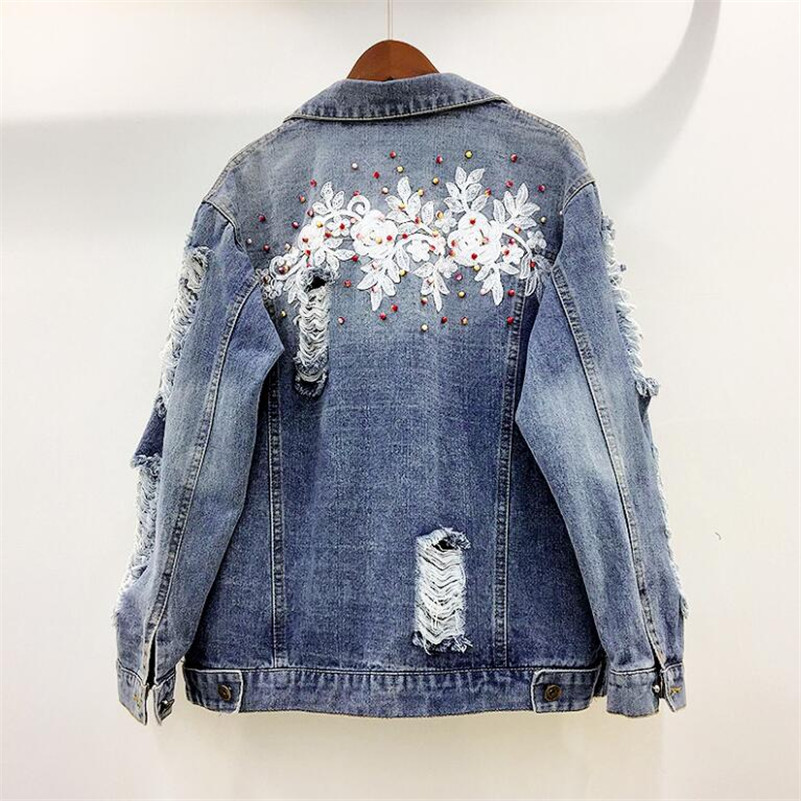 2019 Korean fashion Lace embroidered beaded hole wash water denim   jacket   women casual loose   Basic     Jacket   outwear r950