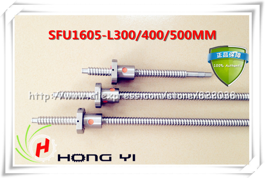 NEW! SFU1605 ball screw  L=300mm/400mm/500mm+3pcs ballnut  for CNC and BK/BF12 standard processingNEW! SFU1605 ball screw  L=300mm/400mm/500mm+3pcs ballnut  for CNC and BK/BF12 standard processing