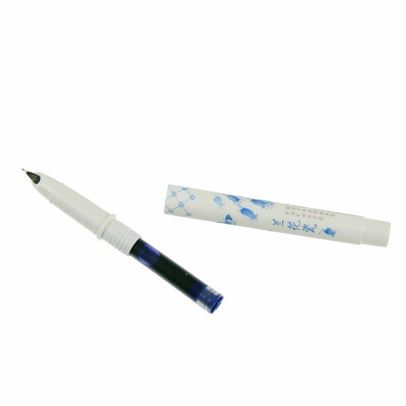 น่ารัก Kawaii Orchid พอร์ซเลนพลาสติก Erasable ปากกาน้ำพุหมึก Sac สำหรับเขียนเกาหลีเครื่องเขียน