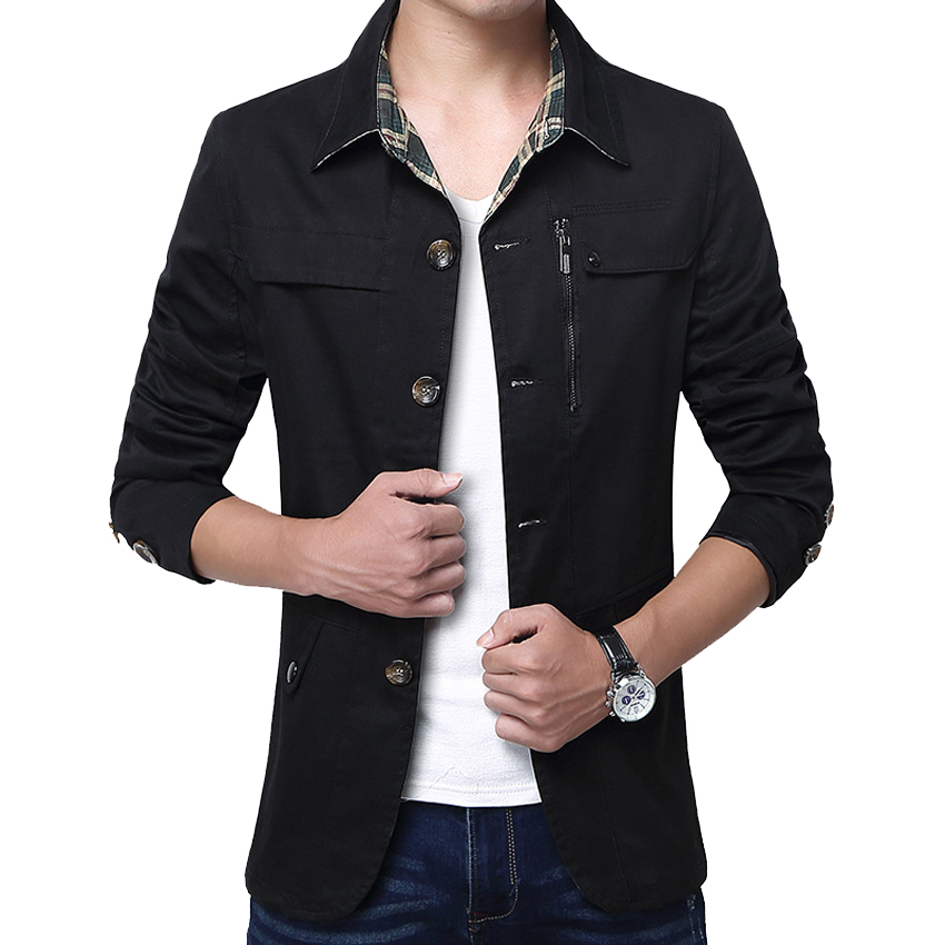 Outerwear Slim Fit Khaki Cotton Mens Jackets  4
