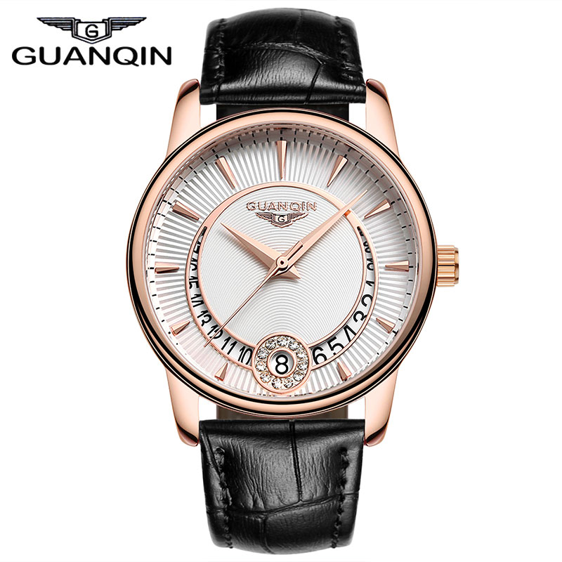 ФОТО Watches Women Luxury Brand GUANQIN Fashion Casual Quartz Watch Diamond Waterproof Leather Strap Watch Clock Women montre femme