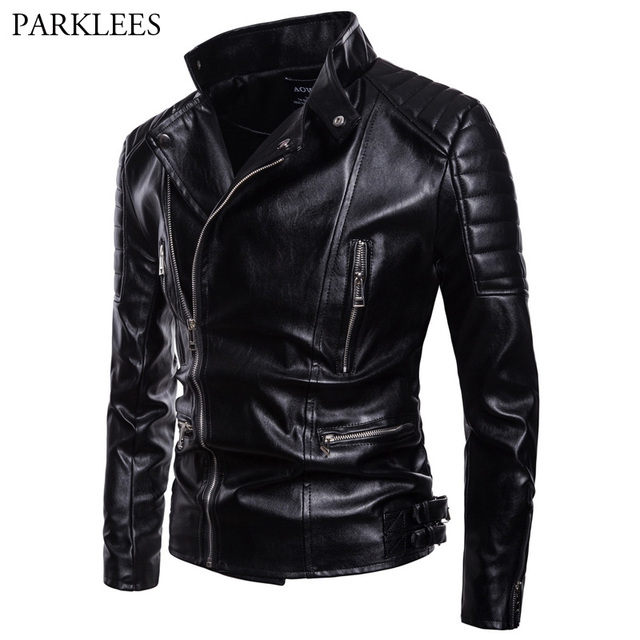 Men s Classic Police Style Motorcycle Leather Jacket 2018 Autumn New High  Quality Pu Leather Jacket Coat f9ce47a600