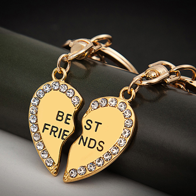 Hot sale key chain friendship keychain best friend crystal keyring jewelry gift bag charm bag accissories llaveros mujer chave
