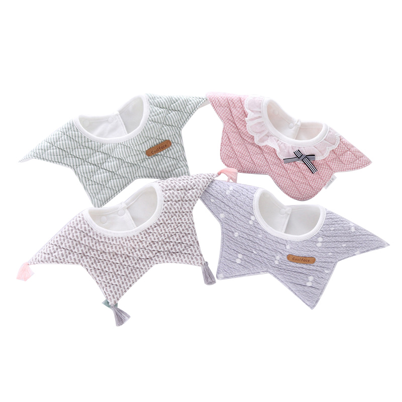 100% Cotton Waterproof Baby Bibs Fashion Round Neck Baby Girls Bibs 360 Degree Flower Star Bib For Girls Baby Girls Clothing girls 100