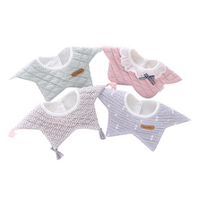 100% Cotton Waterproof Baby Bibs Fashion Round Neck Girls 360 Degree Flower Star Bib For Clothing