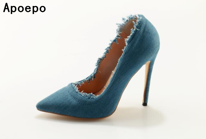 Newest denim high heel shoes 10 cm thin heels woman pumps 2017 sexy pointed toe stiletto heels office lady high heels newest patent leather high heel shoes sexy pointed toe woman pumps 2017 leopard printed stiletto heels thin heels dress shoes