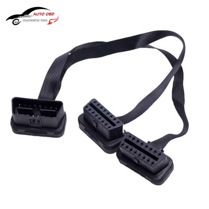 50pcs Flat+Thin As Noodle OBDII OBD 2 OBD2 16 Pin ELM327 Male To Dual Female Y Splitter Elbow Extension Connector Cable 2016
