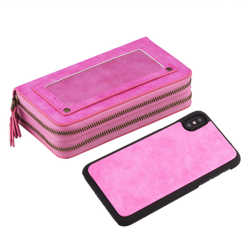 For iPhone X Case Multi function Double Zippers Flip Leather Case For Cover iPhone SE 5S 5 6 6S 7 8 Plus X Wallet Purse Handbag