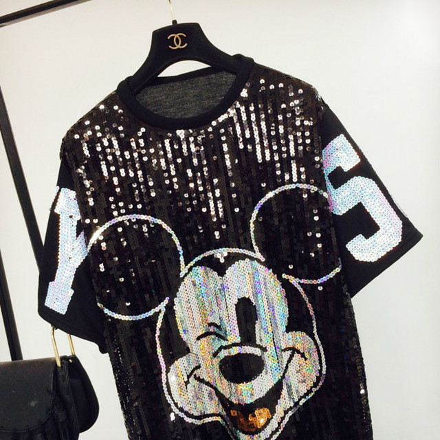 Chic Woman Cartoon Mickey sequins loose Oversized Long T-shirt Hiphop Numbers Short sleeved splicing Sequined Tops Streetwear 2