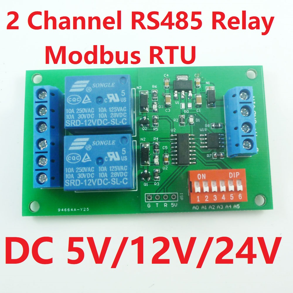 Dc 5v 12v 24v 2 Channel Rs485 Relay Modbus Rtu Plc Module