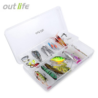 Outlife 35pcs Set Soft Hard Fishing Lure For Trout Bass Salmon Fish Tackle Fishing Accessories With