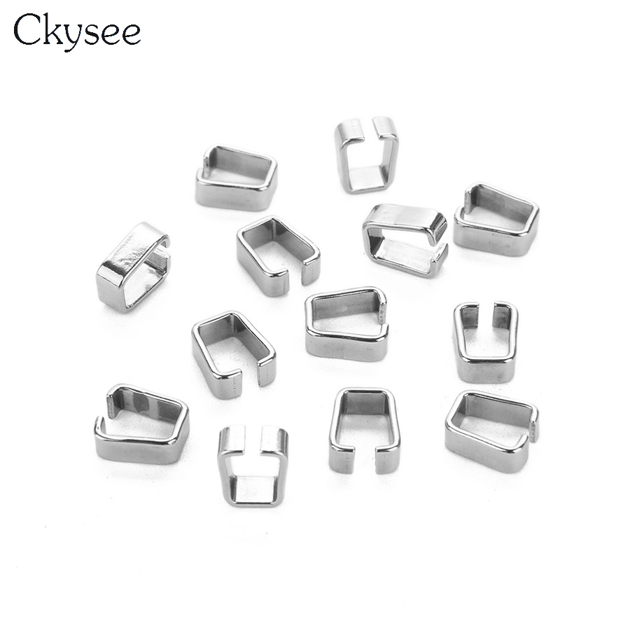 Ckysee 25Pcslot 4.5x11mm Stainless Steel Pendant Bail Pinch Bails Connectors Clasps For Bracelet Jewelry Making Findings