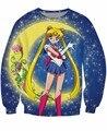 Мода одежда сейлор мун Swewma v-образным вырезом свитер культового японского аниме характер яркие перемычка для женщин мужчины