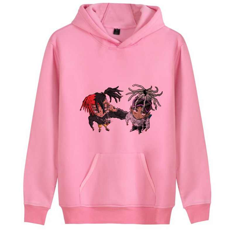 Penyanyi Baru Xxxtentacion Harajuku Lucu Kartun Personalisasi Fleecy Hooded Sweatshirt Kanguru Saku Leisure Remaja Jersey A194301