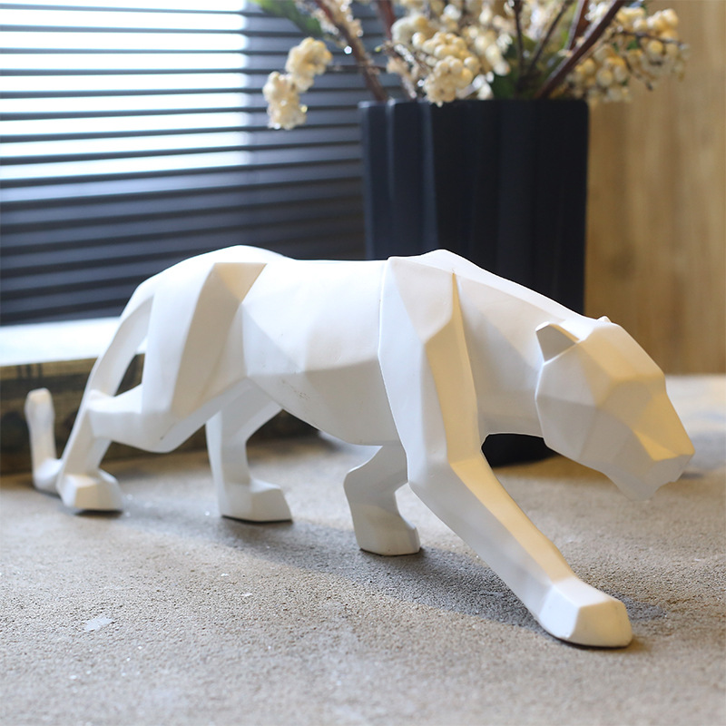 Europe brife Leopard Abstract Panther Sculpture Geometric Resin Leopard Statue Wildlife Decor Gift home Accessories Furnishing