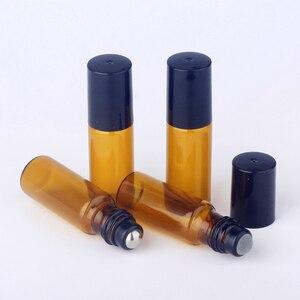 Image 4 - 100 шт./лот 5 мл мини рулон бутылок для эфирного масла многоразовая бутылка с роликовым шариком, коричневая стеклянная бутылка, аналогичные бутылки