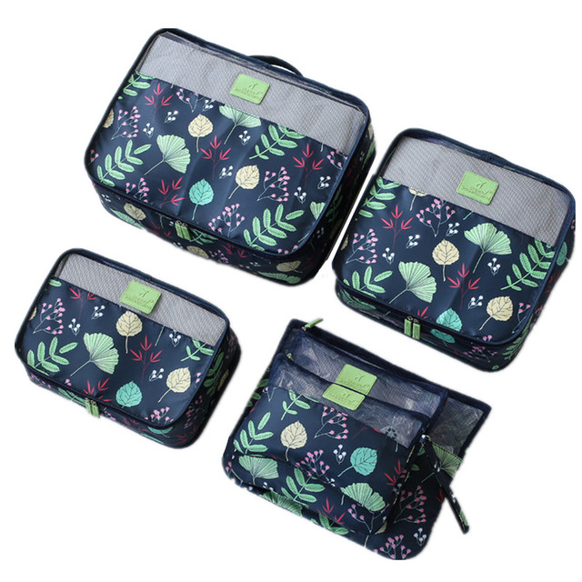 e2d49450294c US $7.24 26% OFF|Women Flower Travel Storage Pouch Set Waterproof Clothes  Shoes Underwear Cosmetic Organizer Bag Suitcase Tote Accessory Luggage-in  ...