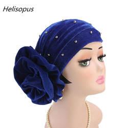 Женский вышитый бисером король цветок мусульманский головной убор вельветовый тюрбан шапка головная повязка шапка Хемо шапка женский