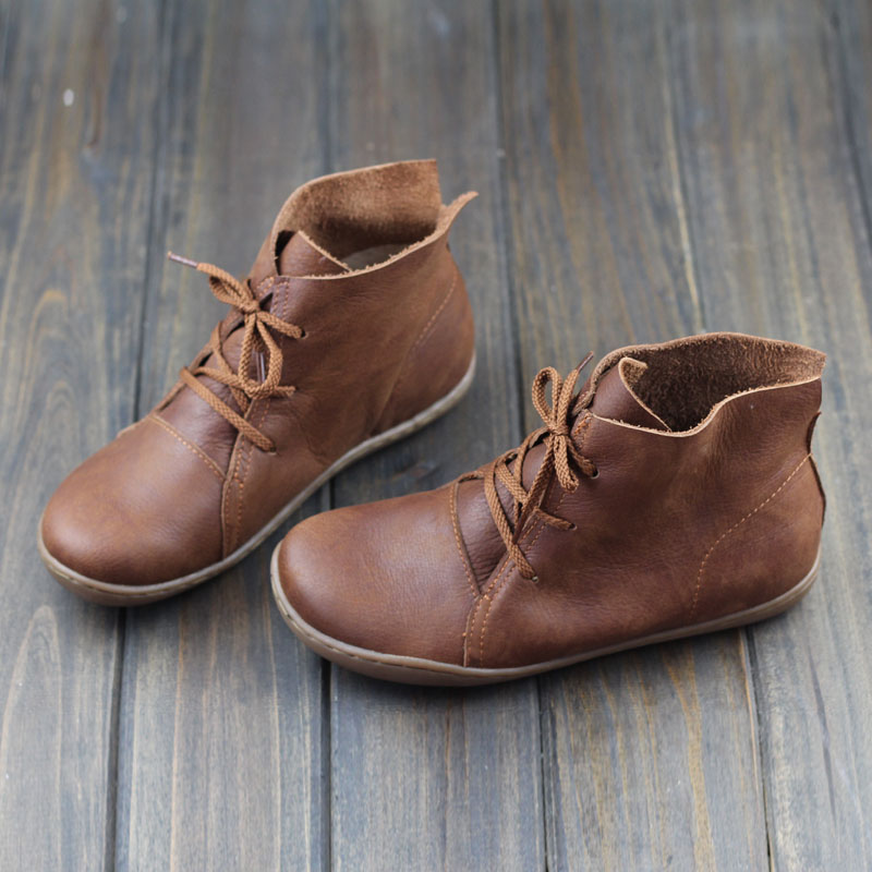 (35-42)Women Ankle Boots Hand-made Genuine Leather Woman Boots Spring Autumn Square Toe lace up Shoes Female Footwear 2017 xiangban women ankle boots handmade genuine leather woman short boots spring autumn round toe female footwear