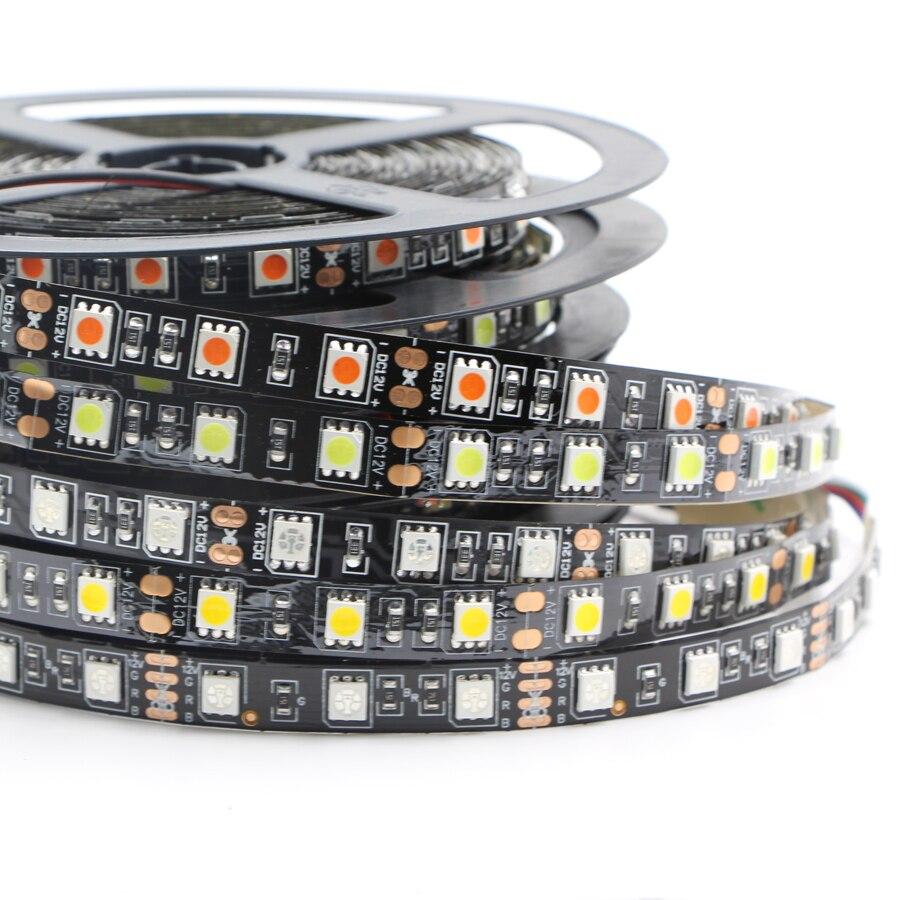 Black 1m 5m Dimmable 5050 rgb led Strip light DC12V 60LEDs/m LED Light stripe SMD 5050 Ribbon Decoration LED rgb tape backlightBlack 1m 5m Dimmable 5050 rgb led Strip light DC12V 60LEDs/m LED Light stripe SMD 5050 Ribbon Decoration LED rgb tape backlight