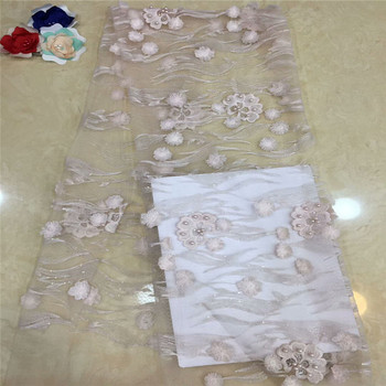 latest 3d French lace fabric African tulle lace applique high quality Nigerian net lace fabric with sequins and beads  xc65-1120
