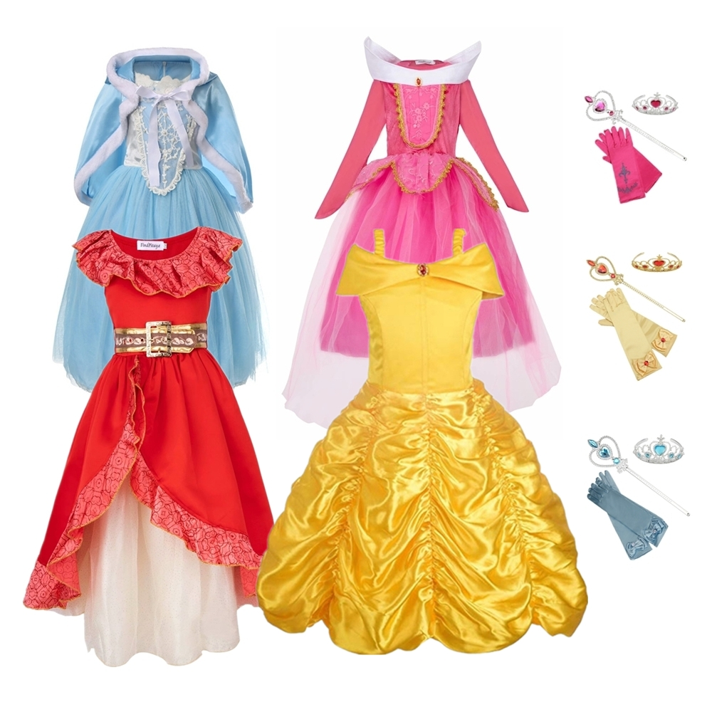 FINDPITAYA Girls Belle Dresses Summer Princess Beauty And The Beast Cosplay Costume Party Fancy Dress Ball Down With Five ACCE