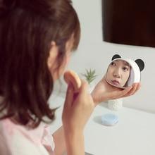 Cartoon Panda Digital Mirror Alarm Clock Portable LED Display Snooze Function Temperature Display Sounds Control Alarm Clock