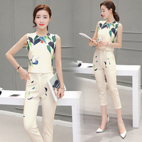 Two Piece Women Set Spring And Summer Printed Shirt Pants Suit