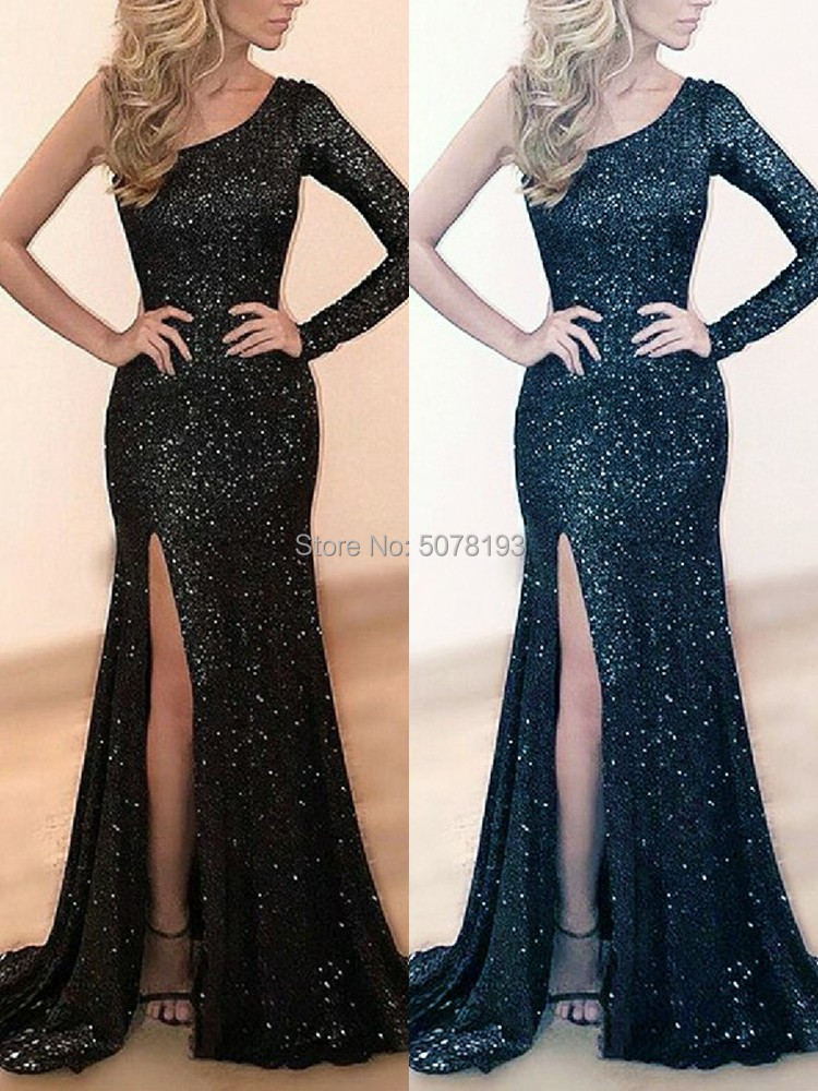 hot sale simple one-shoulder full sleeves natural mermaid/trumpet sequins floor-length dress/gown right slit free shipping