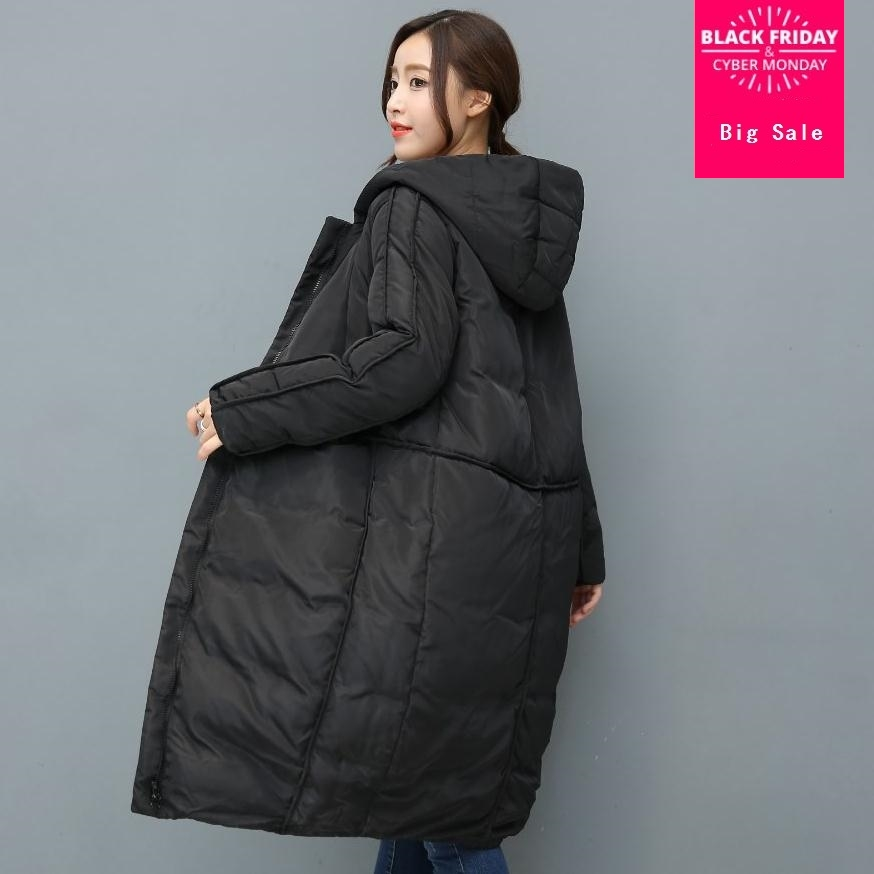 2019 winter new fashion brand hooded stitching warm 90% duck   down   jacket female longer thick   down   feather filler   coat   wj1166