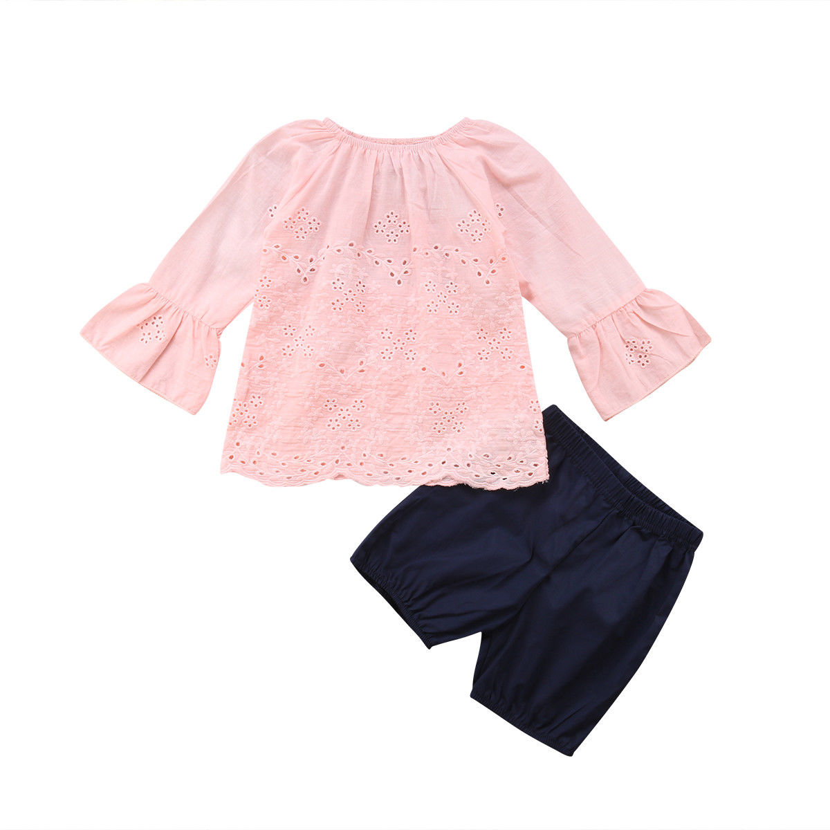 NEW Toddler Girls 2 Piece Set Size 2T Top Shirt Shorts Outfit Tunic Pink Orange