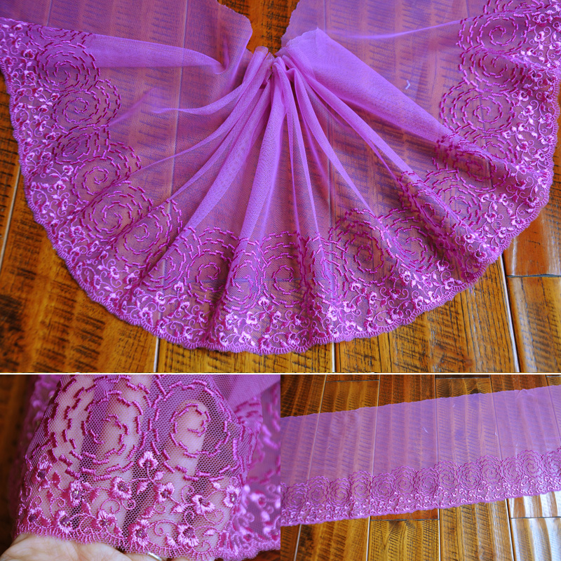 23cm/15cm 5meter/lot Free Ship Purple Embroidered Mesh Lace Trims Dress Garment Curatin Doll Lace Accessary Z1160