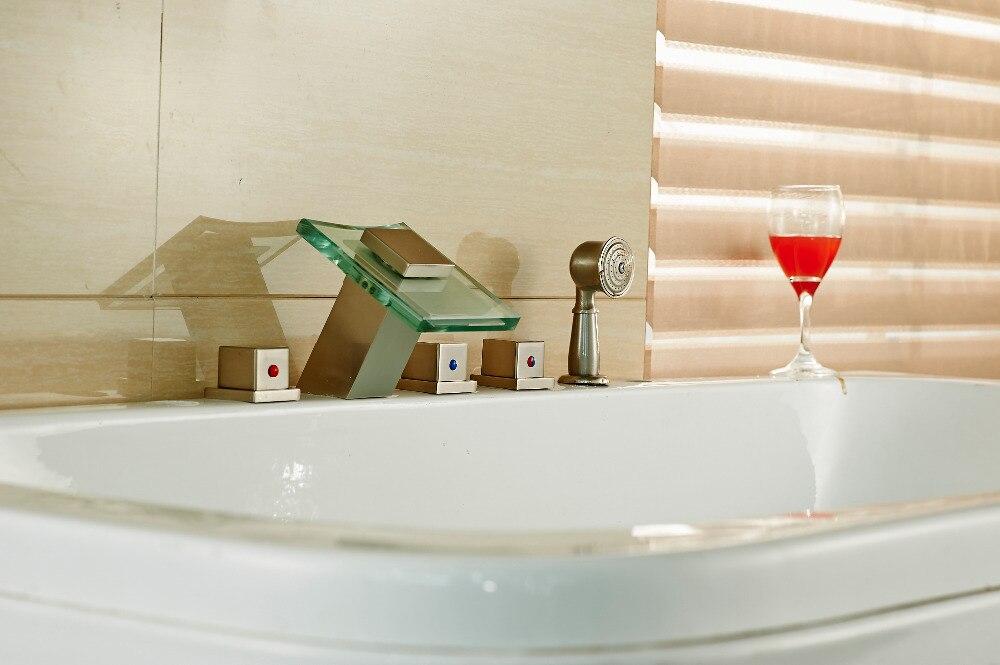 цена на Nickel Brushed Bathroom Shower Faucet Bathtub Mixer Tap Pull Out Handheld Shower