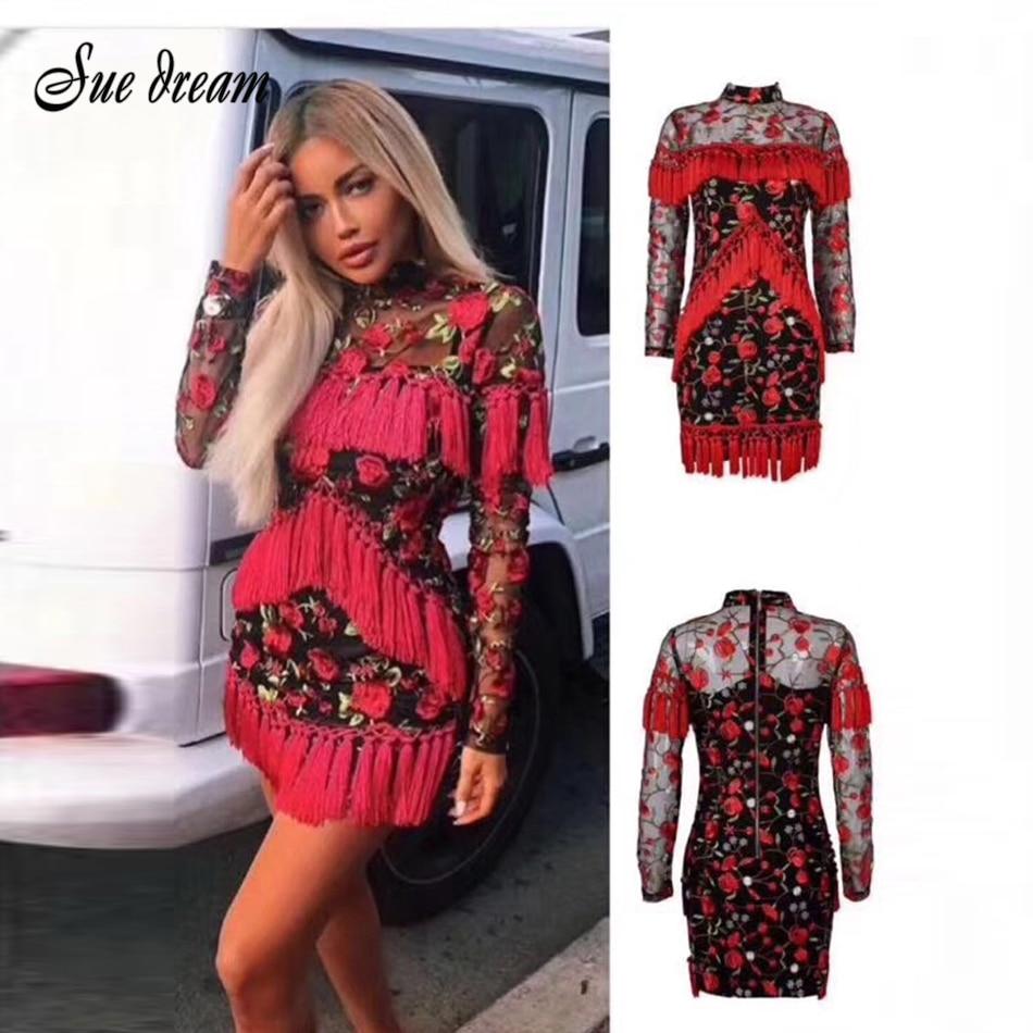 2018 New Fashion Women's Dress Red O-neck Full-sleeved Mini Dress Elegant Mesh Flower Embroidery Tassels Bodycon Dress